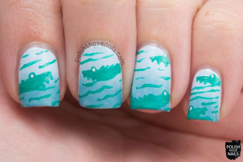 nails, nail art, nail polish, blue, gradient, alligators, polish those nails