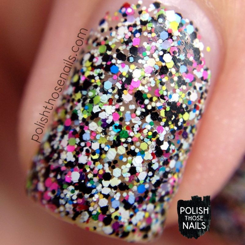 Swatch, Behind The Scenes, Glitter, Multicolor, Polish Those Nails, Polish 'M, Indie Polish, Macro