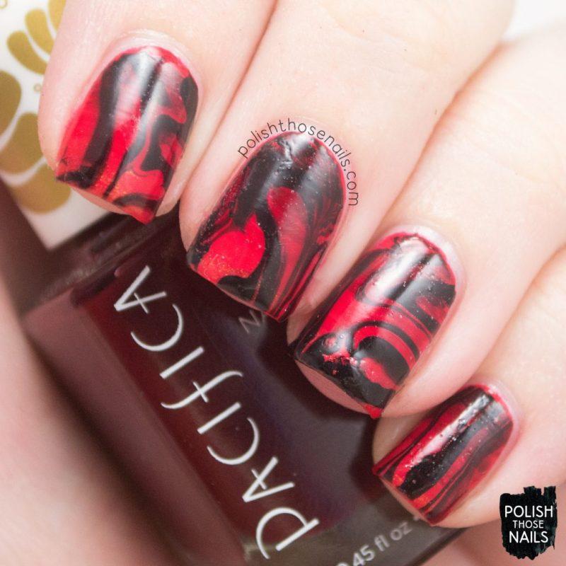 nails, nail polish, nail art, red, gradient, watermarble, polish those nails
