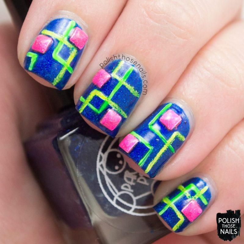 nails, nail art, nail polish, neon, squares, holo, indie polish, parallax polish, polish those nails