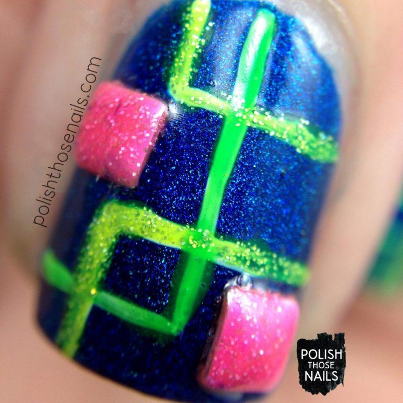 nails, nail art, nail polish, neon, squares, holo, indie polish, parallax polish, polish those nails, macro