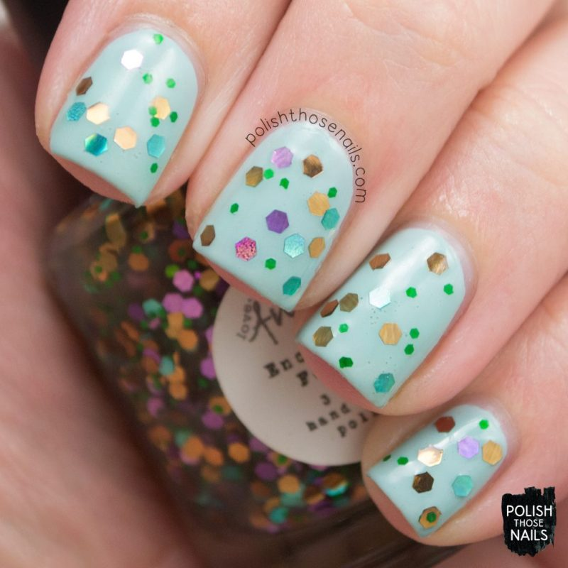 swatch, enchanted forest, nails, nail polish, indie polish, love angeline, polish those nails, glitter