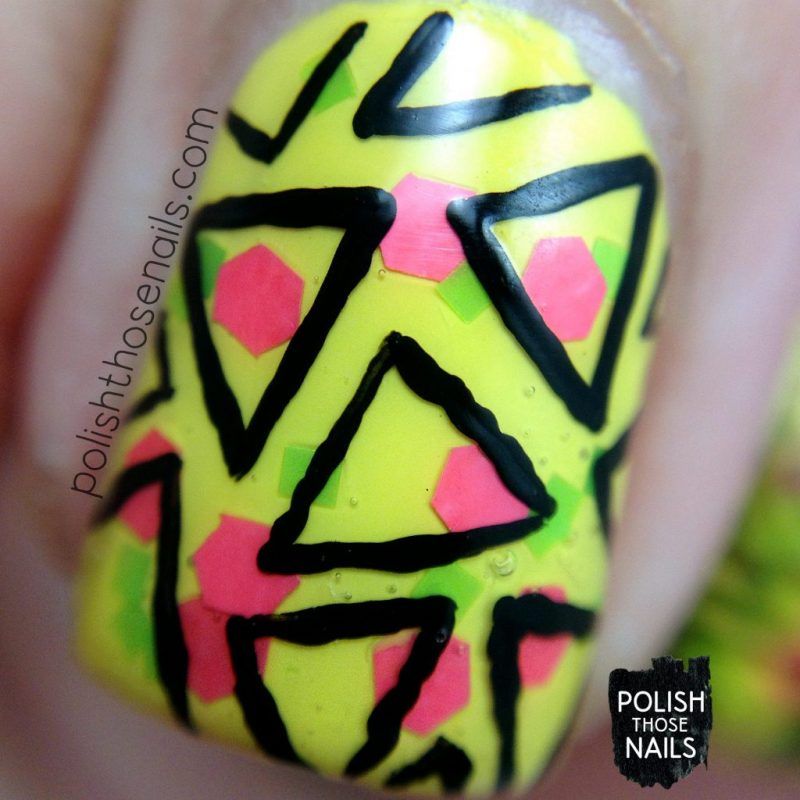 nail art, geometric, triangles, yellow, bright, wham!, nails, nail polish, indie polish, love angeline, polish those nails, glitter, macro