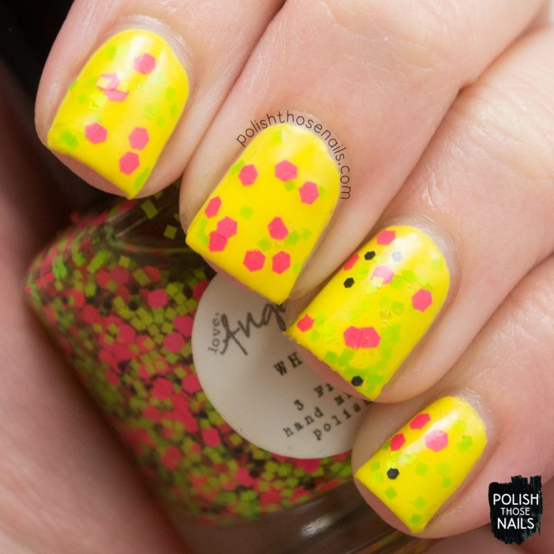 swatch, yellow, bright, wham!, nails, nail polish, indie polish, love angeline, polish those nails, glitter