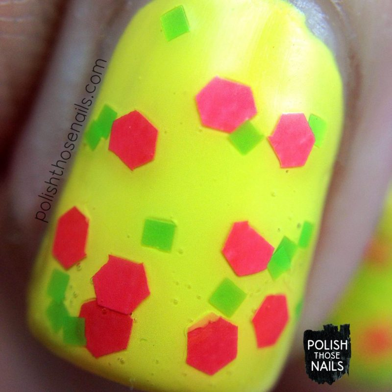 swatch, yellow, bright, wham!, nails, nail polish, indie polish, love angeline, polish those nails, glitter, macro