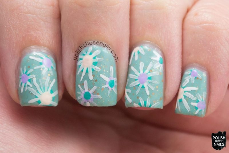 lady liberty, mint, glitter crelly, nail art, flowers, floral, nails, nail polish, indie polish, polish those nails, polish 'm