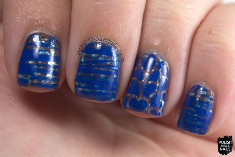 blue, vinyl, nail art, she loves me, glitter, nails, nail polish, polish those nails, indie polish, love angeline