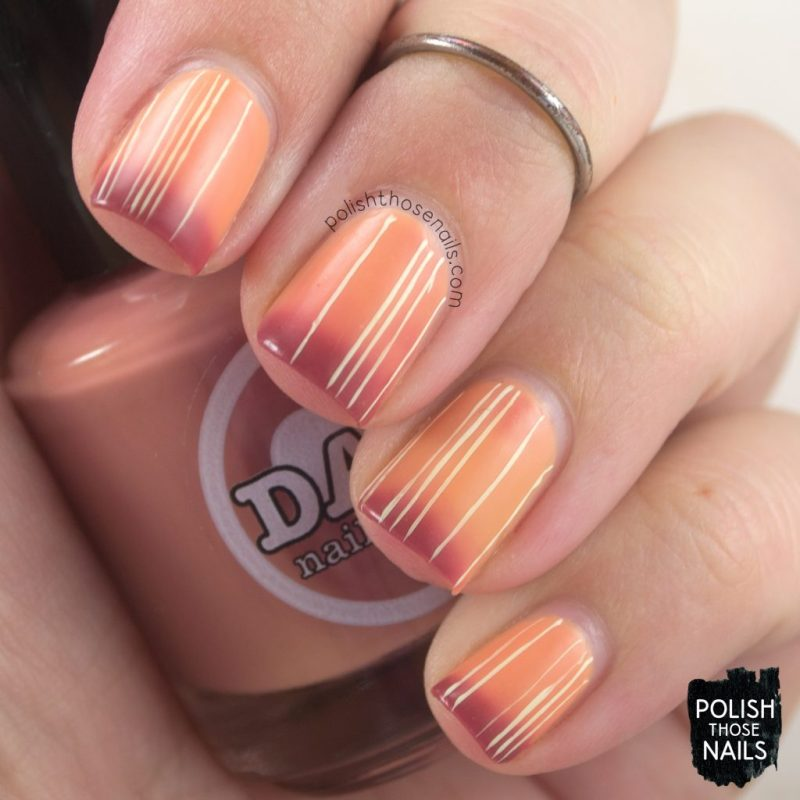 auburnt, orange, marsala, stripes, nails, nail polish, nail art, indie polish, thermal, polish those nails, dam nail polish