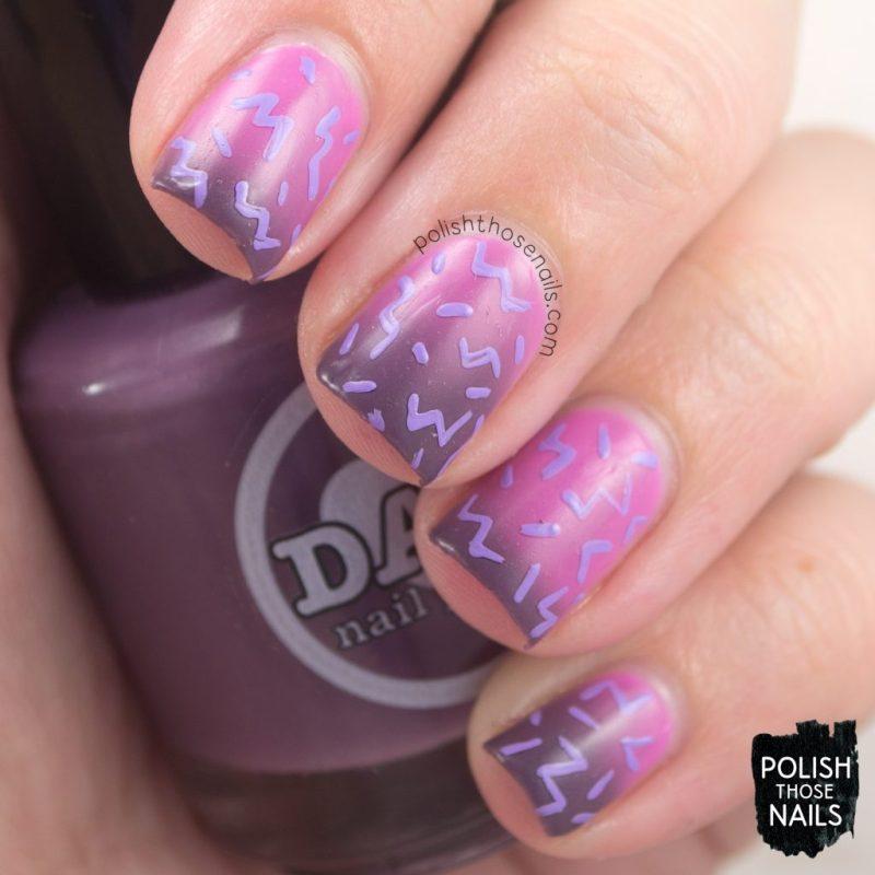 pattern, 80s, exotic horizons, pink, purple, nails, nail polish, nail art, indie polish, thermal, polish those nails, dam nail polish
