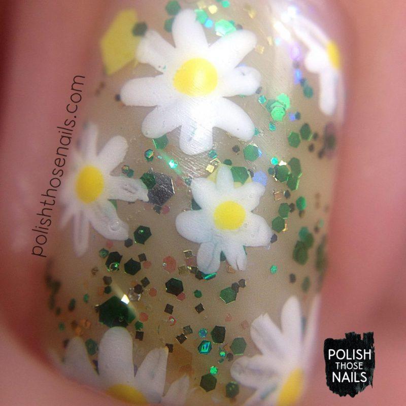 nails, nail art, nail polish, floral, glitter, negative space, polish those nails, macro