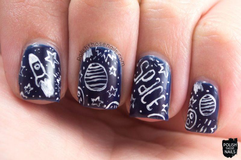 tomorrow night's sky, space, nail art, blue, nails, nail polish, indie polish, love angeline, polish those nails,