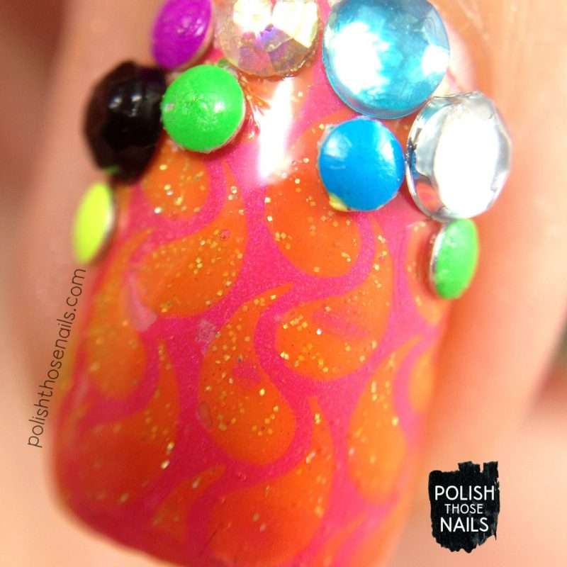 nails, nail art, nail polish, neon, china glaze, rhinestones, studs, polish those nails, macro