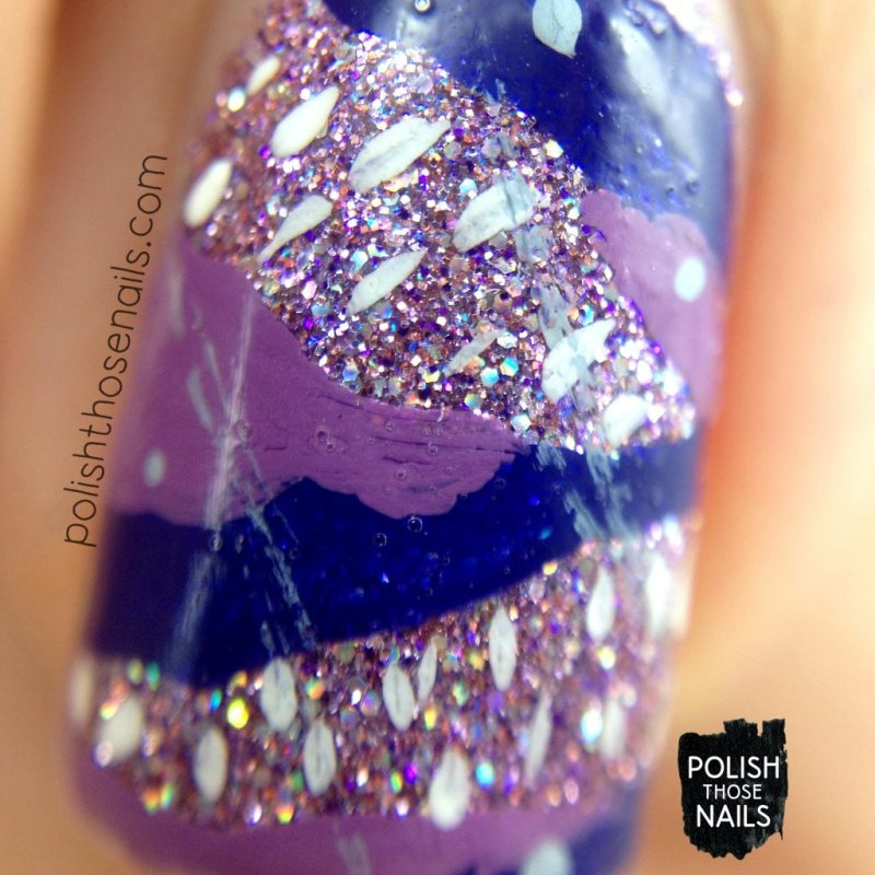 purple, nails, nail art, nail polish, glitter, indie polish, polish those nails, macro