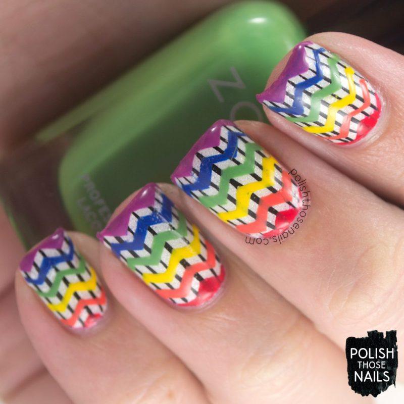 nails, nail art, nail polish, rainbow, stripes, zig zags, polish those nails