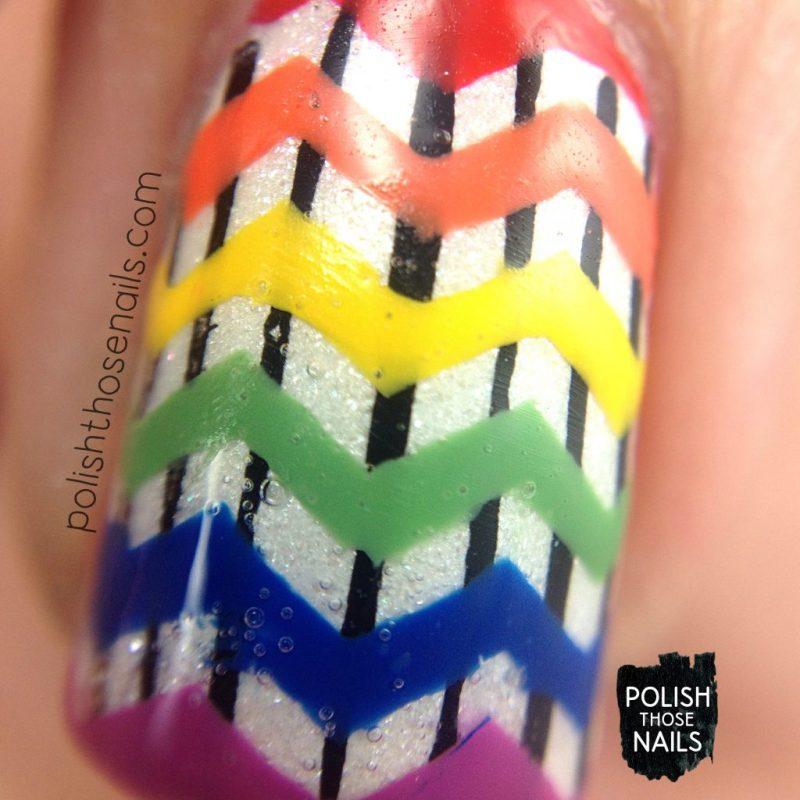 nails, nail art, nail polish, rainbow, stripes, zig zags, polish those nails, macro