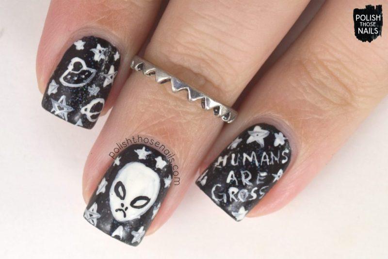 nails, nail art, nail polish, supernatural, aliens, typography, polish those nails, indie polish