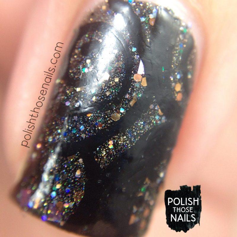 black, nails, nail art, nail polish, glitter, swirls, indie polish, polish those nails, macro