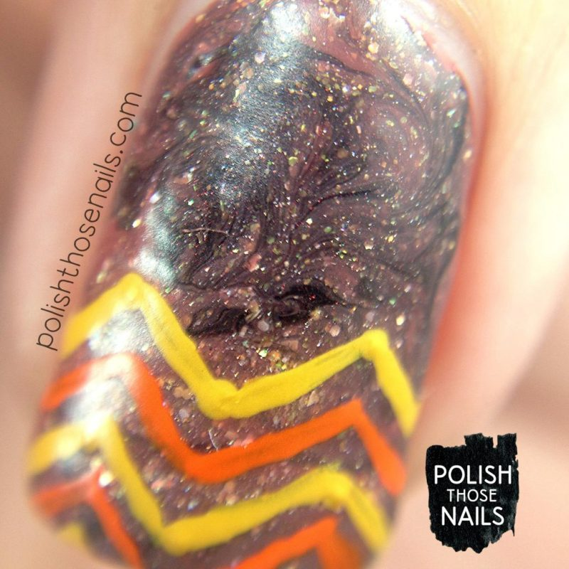 nails, nail art, nail polish, zig zags, autumn, smoosh, polish those nails, macro