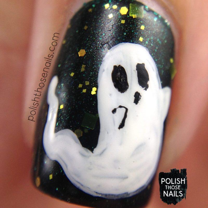 nails, nail art, nail polish, green, ghosts, halloween, polish those nails, indie polish, macro