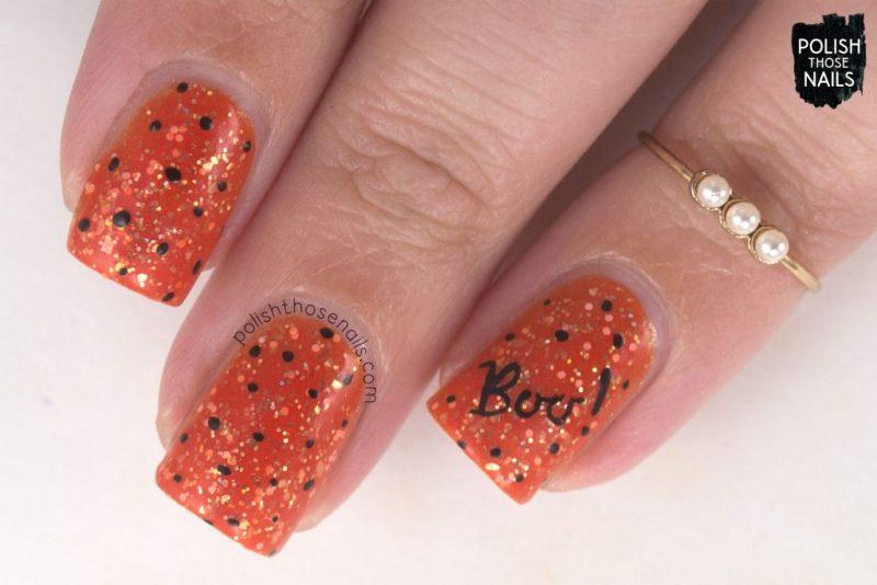 nails, nail art, nail polish, orange, polish those nails, halloween, indie polish, glitter