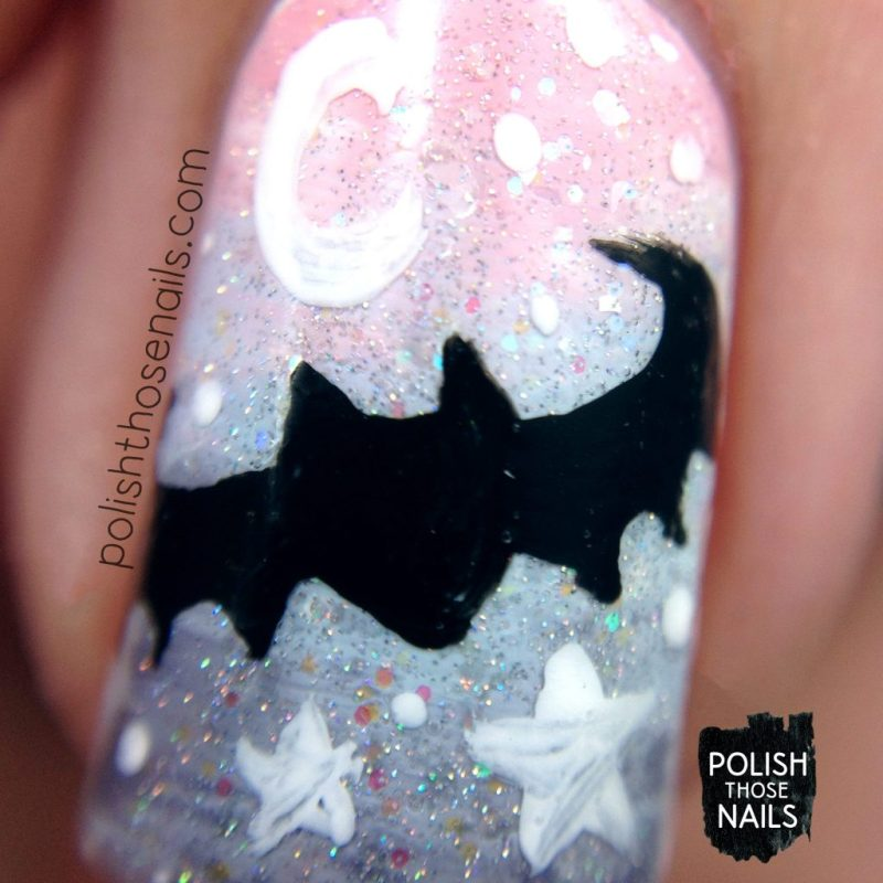 nails, nail art, nail polish, gradient, pastel, bats, polish those nails, halloween, pattern, macro