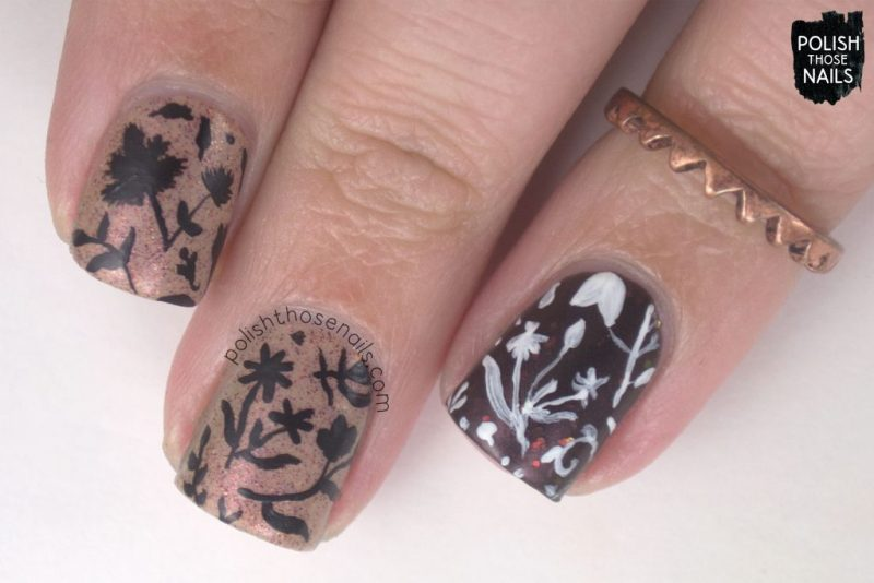 nails, nail art, nail polish, fall, foliage, indie polish, polish those nails, pattern