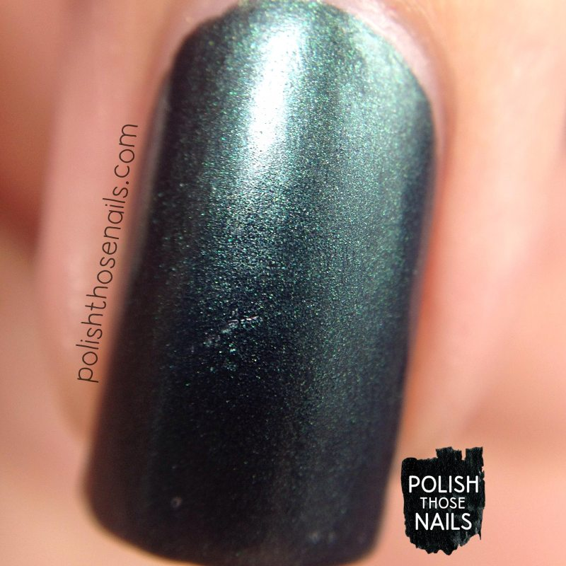error in your r, green, shimmer, nails, nail polish, indie polish, parallax polish, polish those nails, stat-ick-tics set, macro
