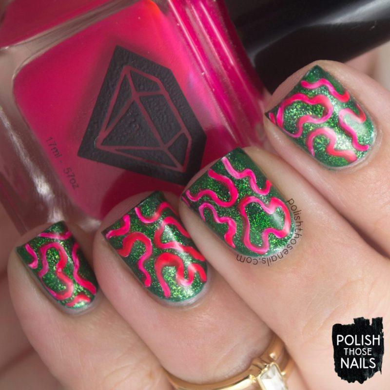 nails, nail art, nail polish, contrast, squiggles, polish those nails