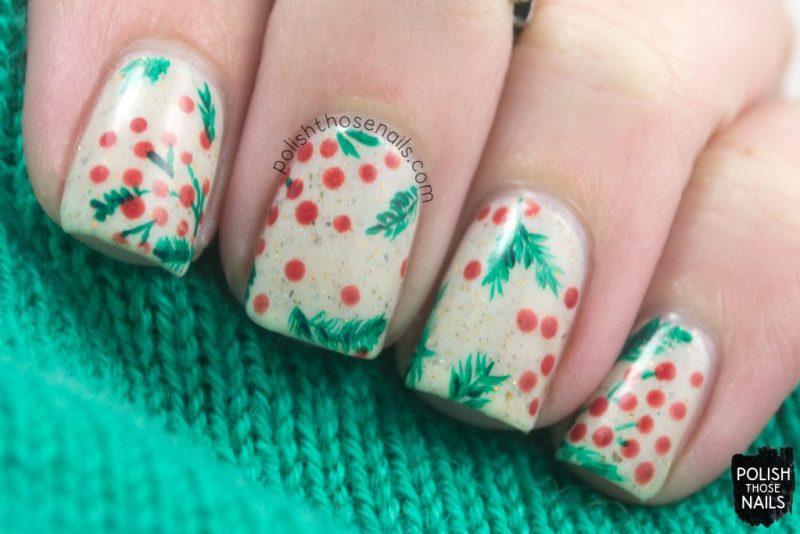 nails, nail art, nail polish, holly, berries, polish those nails, indie polish