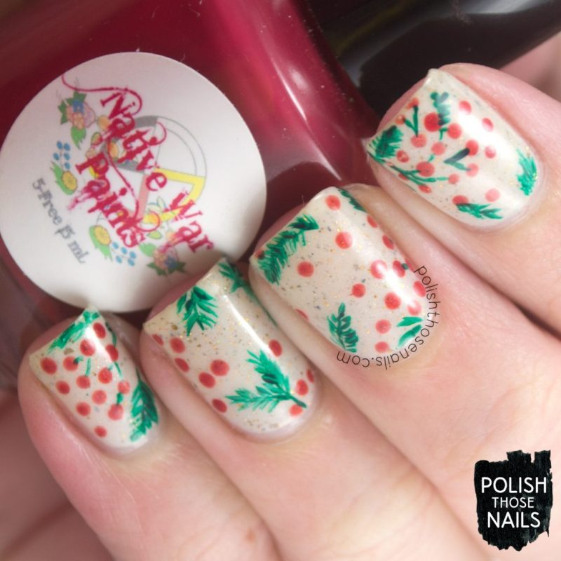 nails, nail art, nail polish, holly, berries, polish those nails, indie polish