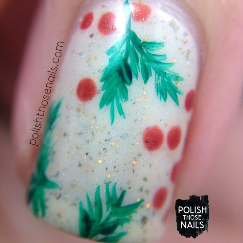 macro, nails, nail art, nail polish, holly, berries, polish those nails, indie polish