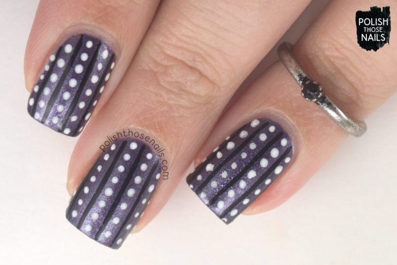 purple, beta, polka dots, stripes, nails, nail polish, nail art, indie polish, parallax polish, polish those nails, stat-ick-tics set