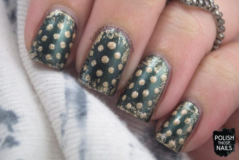 green, error in your r, gold, polka dots, nails, nail polish, nail art, indie polish, parallax polish, polish those nails, stat-ick-tics set