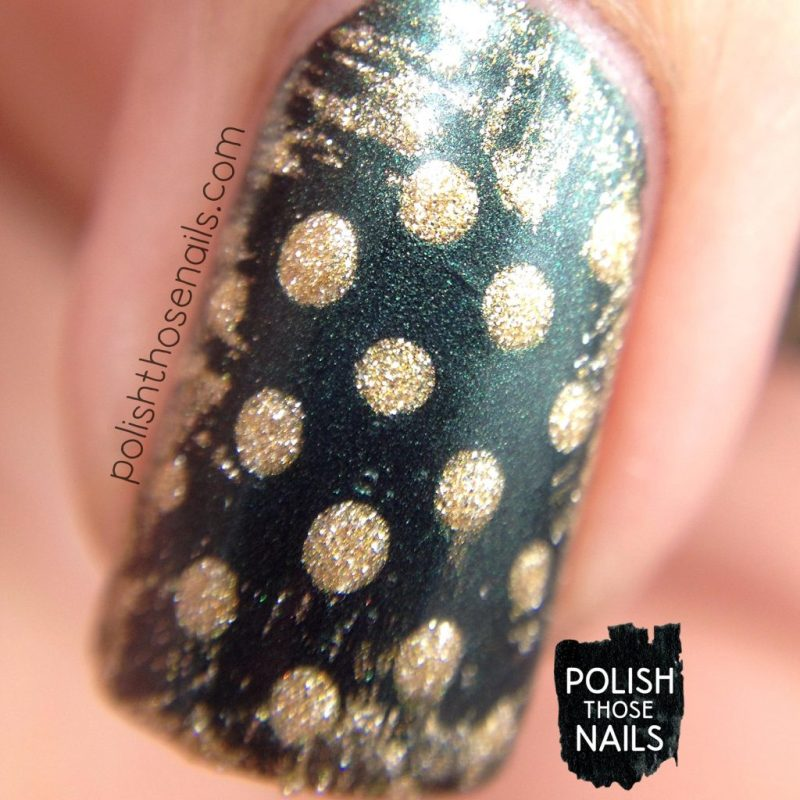 green, error in your r, gold, polka dots, nails, nail polish, nail art, indie polish, parallax polish, polish those nails, stat-icl-tics set, macro