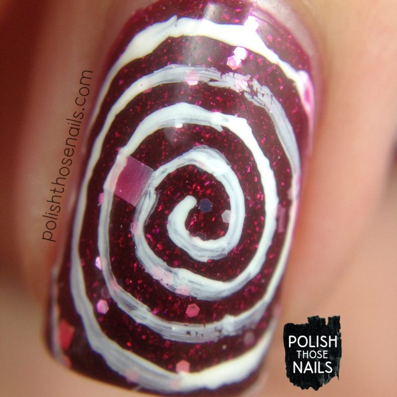 nails, nail art, nail polish, pinwheel, swirls, polish those nails, indie polish, macro