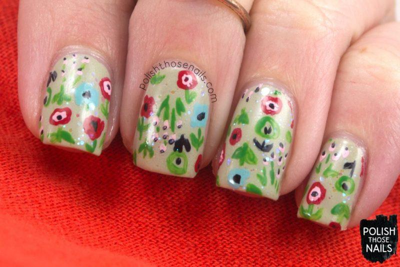 nails, nail art, nail polish, 1950s, floral, flowers, polish those nails, indie polish