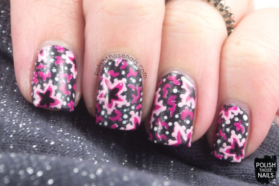 nails, nail art, nail polish, floral, star flowers, polish those nails, indie polish, 1930s