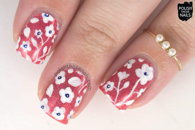 nail art, flowers, floral, pattern, 06/16, orange, holo, love angeline, indie polish, polish those nails, nails