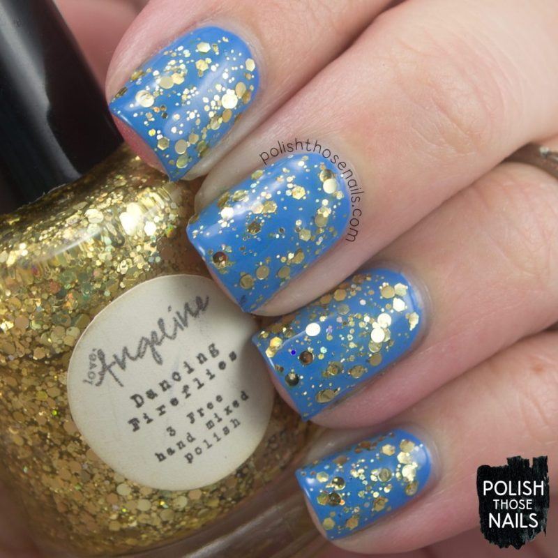 dancing fireflies, swatch, love angeline, polish those nails, indie polish, glitter,