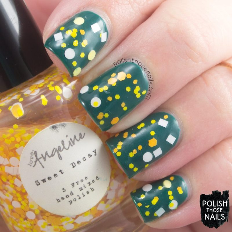 swatch, sweet decay, love angeline, polish those nails, indie polish, glitter,