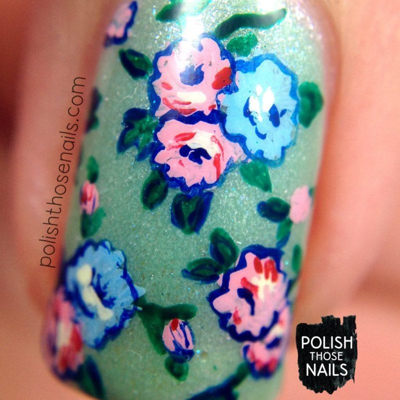 nails, nail art, nail polish, roses, 1920s, flowers, floral, polish those nails, indie polish, macro