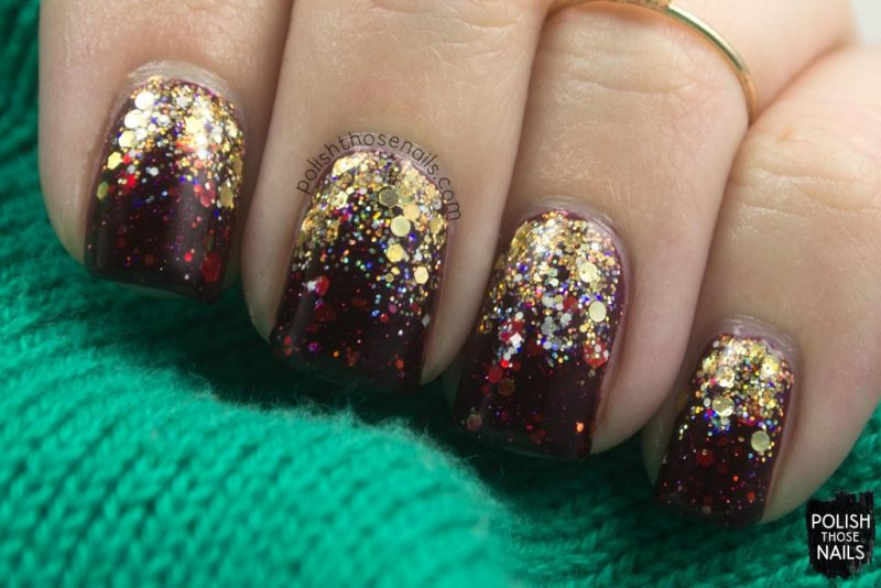christmas, nails, nail art, nail polish, indie polish, glitter, red, gold, polish those nails, indie polish