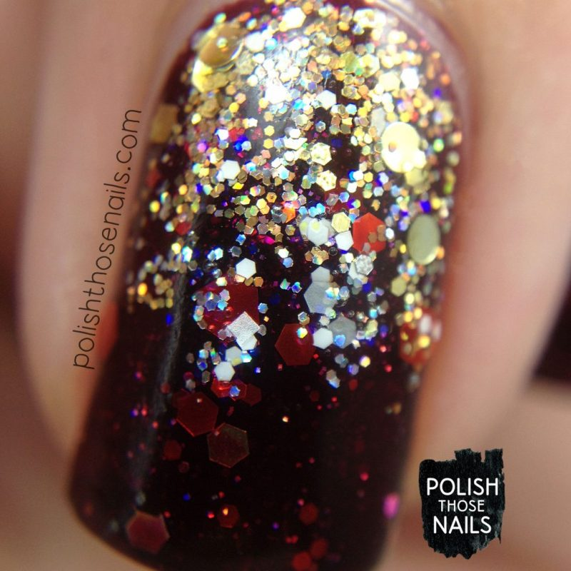nails, nail art, nail polish, indie polish, glitter, red, gold, polish those nails, indie polish, macro