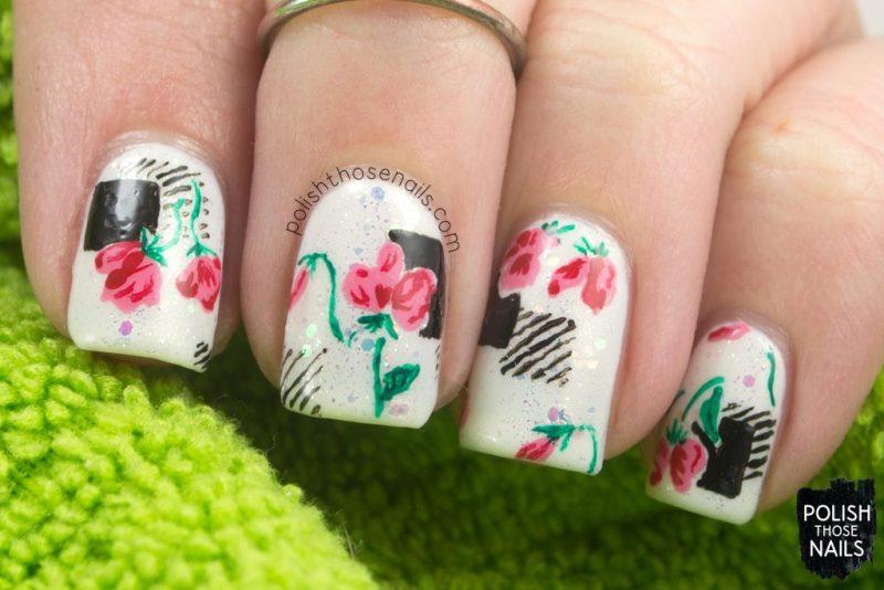 nails, nail art, nail polish, floral, flowers, 1940s, polish those nails, indie polish