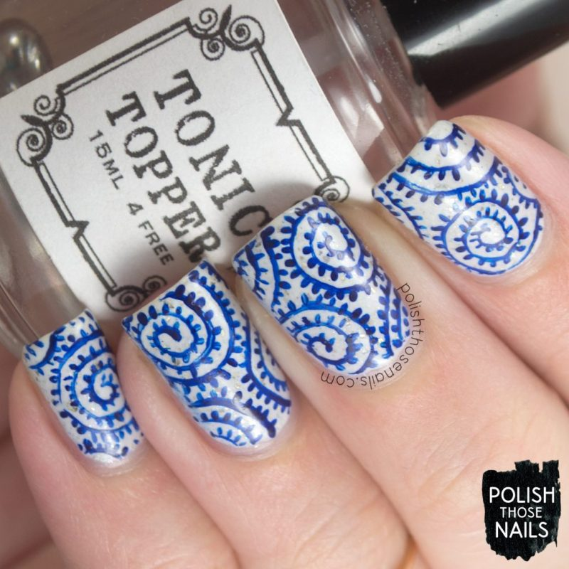 Blue White Bed Of Swirl Flakies Polish Those Nails