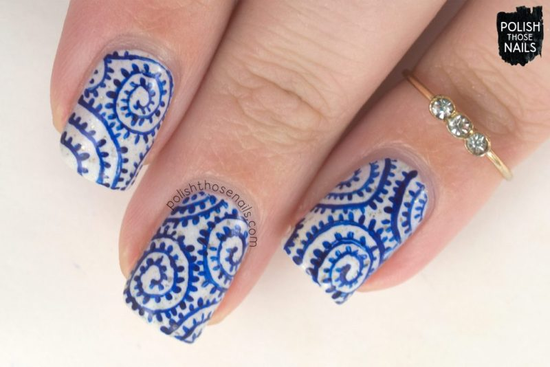 nails, nail art, nail polish, swirl, blue, white, polish those nails, indie polish, pattern
