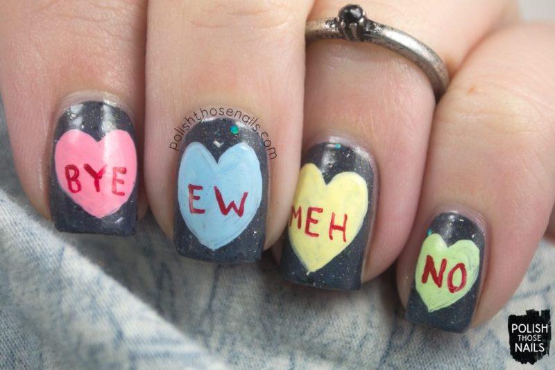 nails, nail art, nail polish, conversation hearts, valentines, polish those nails, shimmer