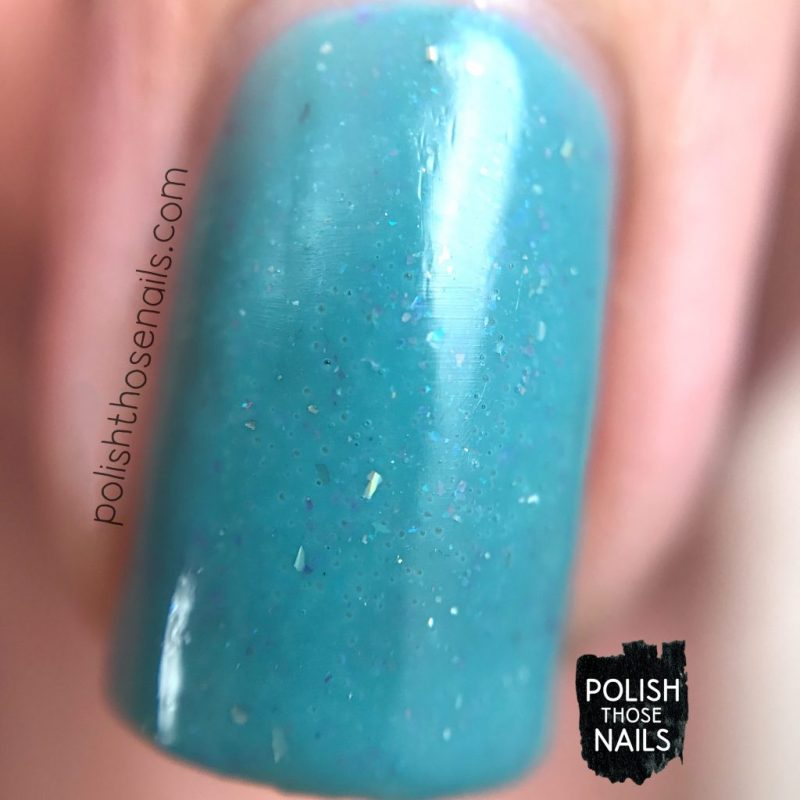 love angeline, indie polish, polish those nails, love one another, blue, flakies, swatch, macro