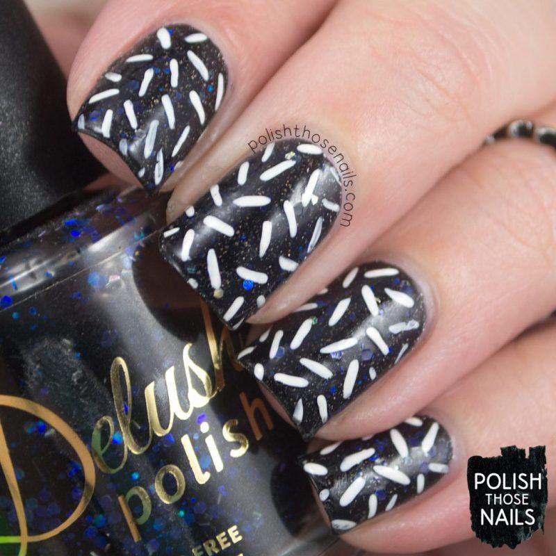 nails, nail art, nail polish, sprinkles, polish those nails, black & white, indie polish