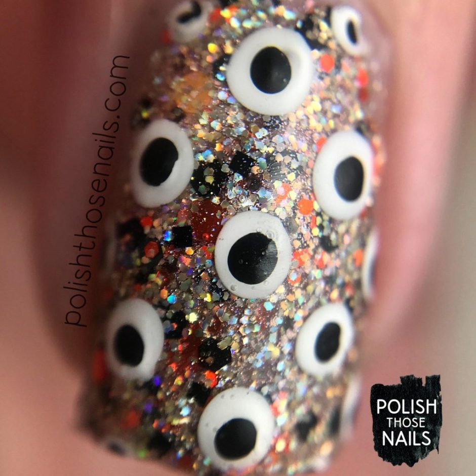 polka dots, nail art, dream within a dream, silver, holo, orange, different dimension, indie polish, polish those nails, glitter, macro